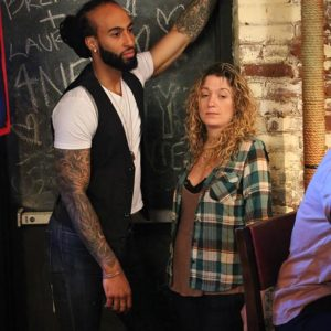 Matthew Addison (Jake) and Stacy Mize (one of our delightful extras) at E's Bar on 6/21