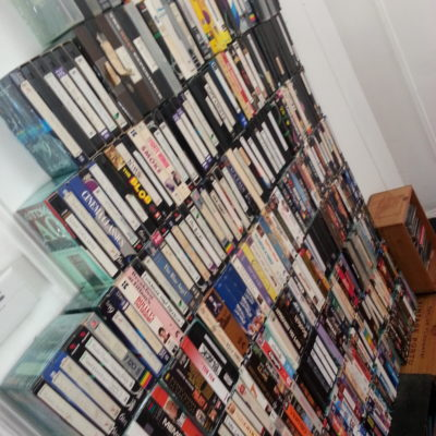 We built a wall of VHS tapes for the background of a scene we shot in late march.