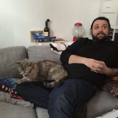 Me hanging out on set with Kitty Ostapowicz's cat, Leon.