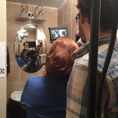 Tight quarters for the bathroom shoot