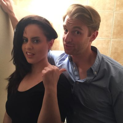Corinne Fisher and Jamie Williford having some fun between takes