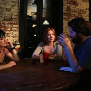Director Sean Mannion explaining what he wants from the scene to Tara Cioletti (Astra) and Kitty Ostapowicz (Danielle). At E's Bar 6/21