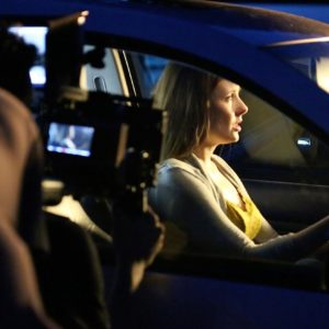 Kitty Ostapowicz (Danielle) during a shot in a parked car. 6/20