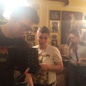 DP Peter Westervelt, AC Diana Molina, Producer/AD Carolyn Maher, and PA Ian Bibby setting up for another shot.