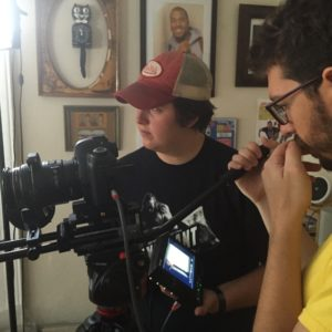 DoP Peter Westervelt and AC Jeanette Sears setting up a shot.